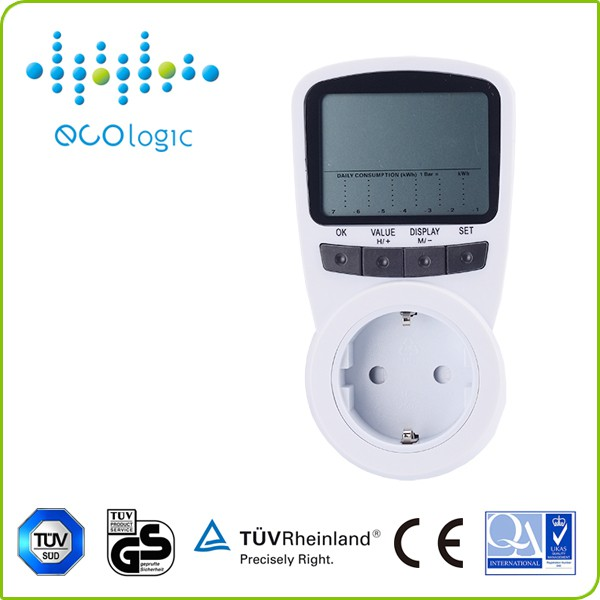 Wireless professional digital single phase energy meter/power meter socket with large LCD display