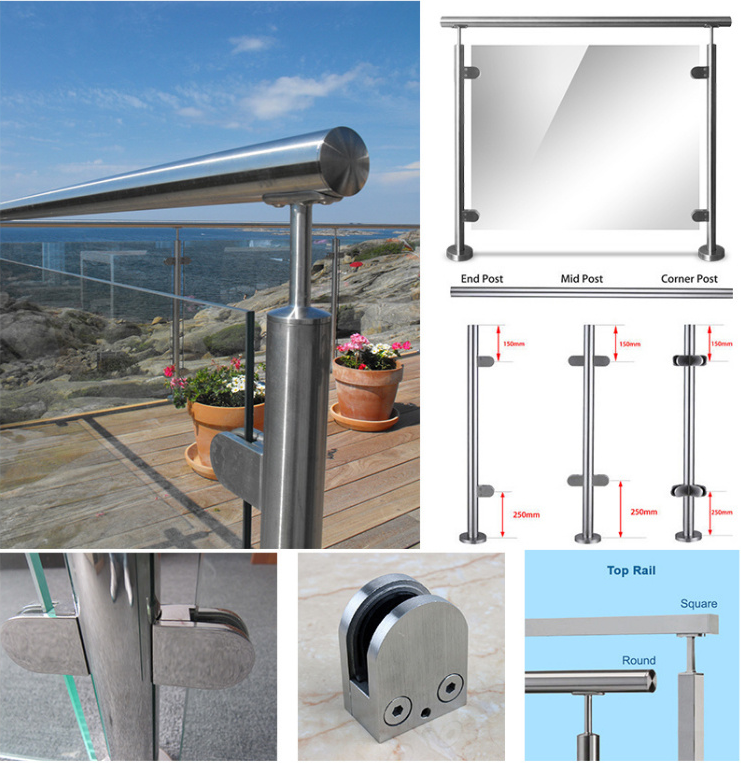 ss indoor side mounted mall cheap u channel spigot frameless standoff tempered stainless steel glass balcony railing