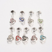 PandaHall Beads Heart Antique Silver Plated Alloy Rhinestone European Dangle Beads Large Hole Pendants Mixed Color