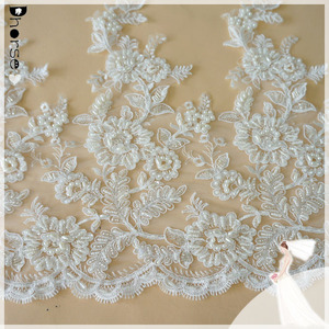 2018 French cord lace trim, white bridal embroidery tulle lace trim,Wedding sequins lace trim