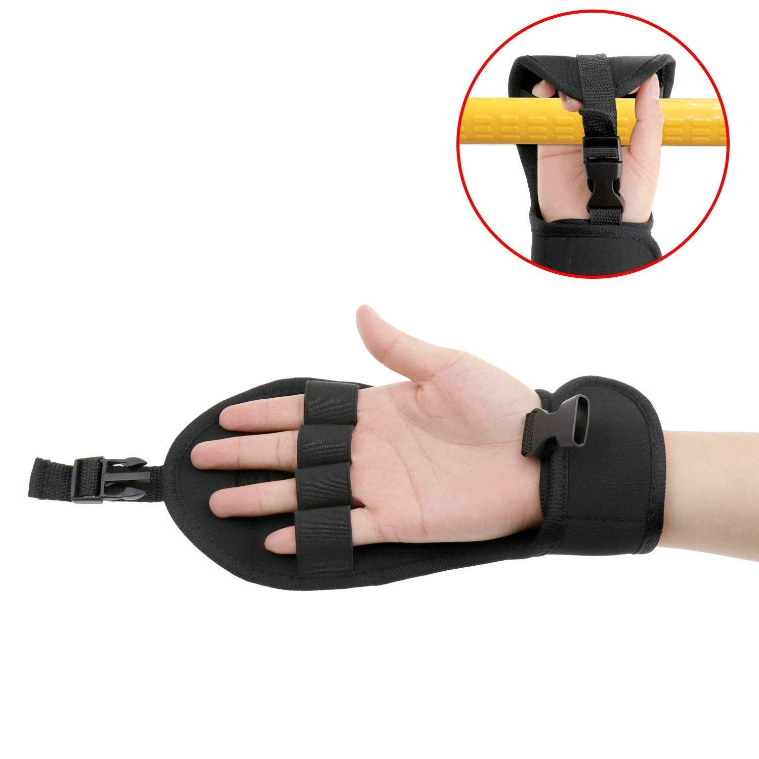 Biange Finger Splint Brace Ability, Rehabilitation Finger Gloves with stroke Hand Splint, Use for Brace Elderly Fist Stroke Hemiplegia Hand Training, Single Hand Grip Exercise (Black)