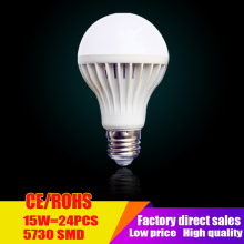 Wholesale Led lamps SMD 5730 3W 5W 7W 9W 12W 15W LED Bulbs 110V 220V 230V 240V LED E27 Cold white warm white LED lights