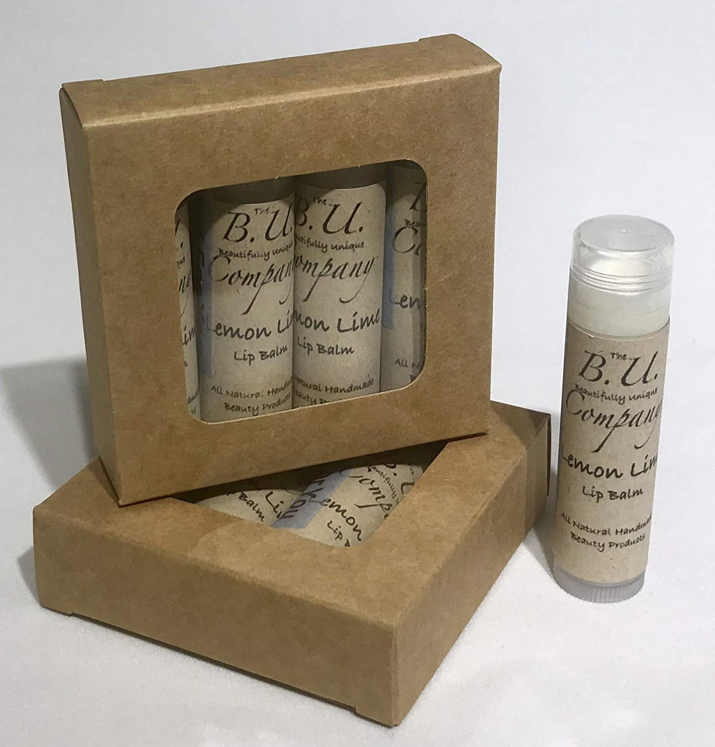 All Natural Lemon Lime Lip Balm - All Natural Handmade - BU Company - 4 pack