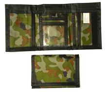 Factory Direct Army Camouflage Nylon Velcro Trifold Kids Wallets for Boys Camo Hunting