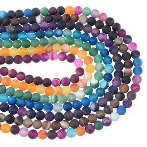 Colorful Natural Stone Dull Polish Striped Banded Agate Beads for Jewelry Making 6mm 8mm 10mm Loose Beads