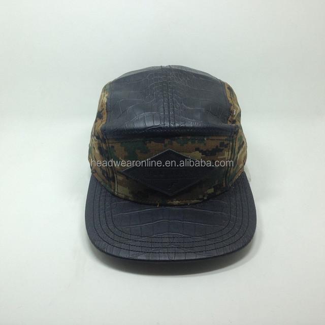 Personalizado de cuero 5 Panel Cap hombre de sombrero sombrero de camuflaje  Snapback gorra fd6cdf0d9e5f