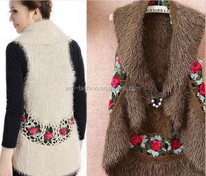 women ladies flower handmade crochet sleeveless shawl cardigan