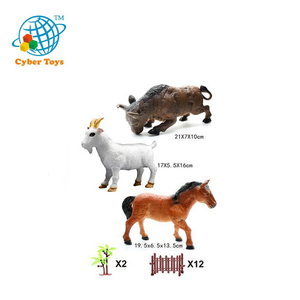 simulation bulk plastic farm 3d animal zoo kids toys jungle animal toy set with bull fighting horse sheep railing tree