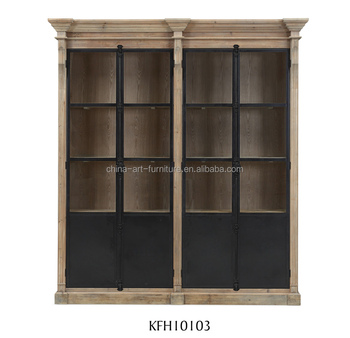 Rustic Industrial Standing Tall Glass Cabinet With Latch Iron Door ...