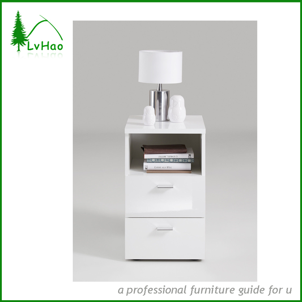 White Color Night Stand Wooden Coffee Table With 2 Drawers and 1 Open Storage Cabinet