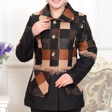 a4d71139d7cf china herstellung Verkauf frauen mittleren alters mantel elegant Winter  warmen dicken revers plaid damen lange wollmantel