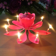 Yes Handmade and Paraffin Wax Material lotus flower music birthday candle jessica+0086-15032098633