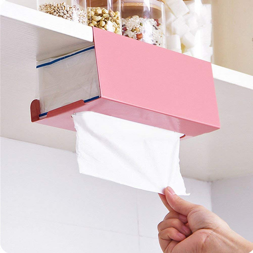 23420-BaoST Under Cabinet Tissue Paper Iron Holder Toilet Paper Dispenser Kitchen Paper Roll Holder Storage Rack Case Frame Hanging Box (Light Pink)
