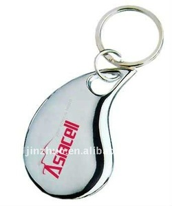 water-drop shaped zinc alloy ring keychain