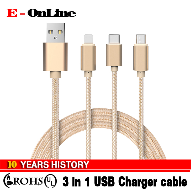 3 IN 1 Braided Type c/Micro <strong>Usb</strong>/8 pin Charger Cable For iphone 6 6s plus 5s ipad mini macbook Samsung Galaxy S6 for xiaomi