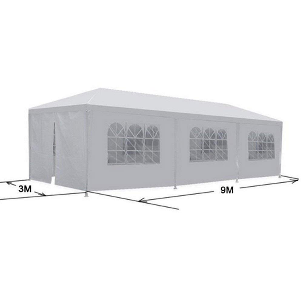 AK Energy 10'x30' Outdoor Canopy Party Wedding Tent White Gazebo Pavilion w/ 6 Walls and 2 Zip Doorway