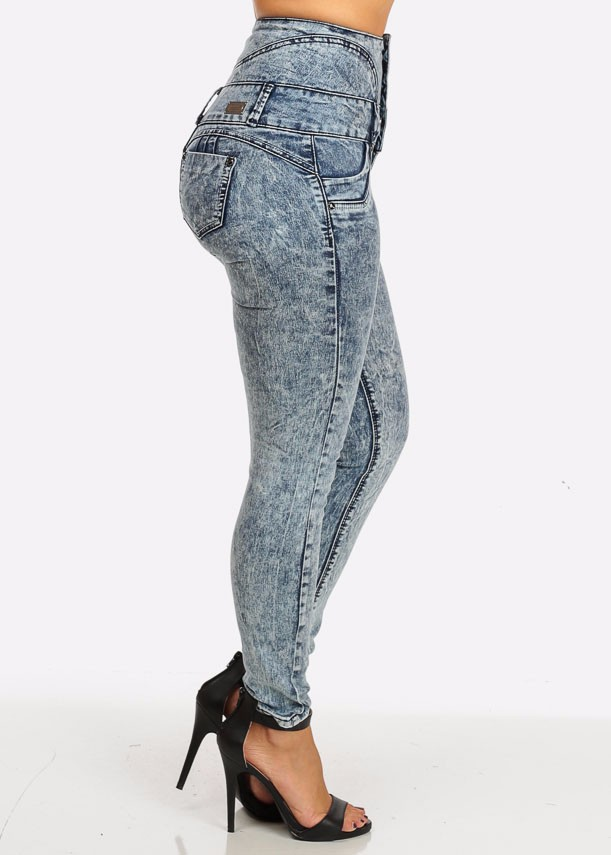 6a3b78e95 ... acid wash six button wide high waist butt lift skinny brazilian jeans.  Skin tight and ultra-high-rise with a retro silhouette