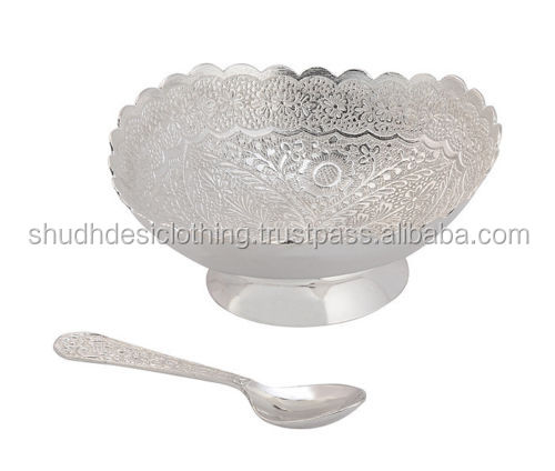 Lovely Designer Hand Carved White Metal Bowls Set For Wedding Gifts