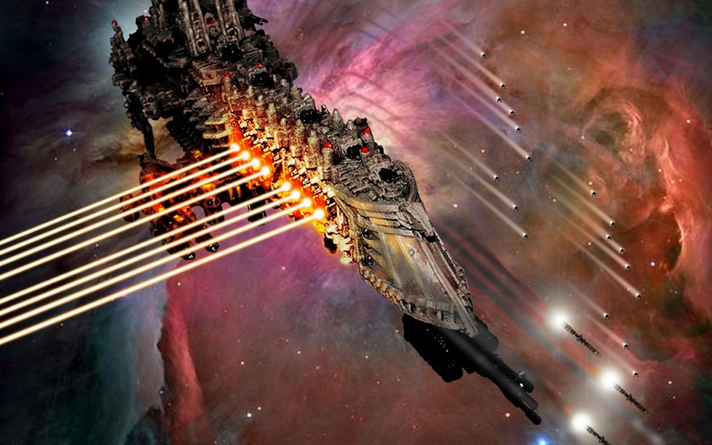 <font><b>Gothic</b></font> Space Battle Warhammer 40k spaceship laser weapons missile <font><b>Home</b></font> Decoration 24x36 inch Silk Poster wall <font><b>decor</b></font>