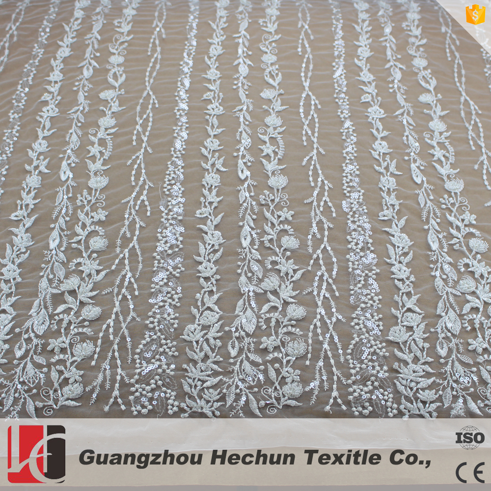 HC-0942 Hechun embroidered sequin flower beaded beautiful lace fabric