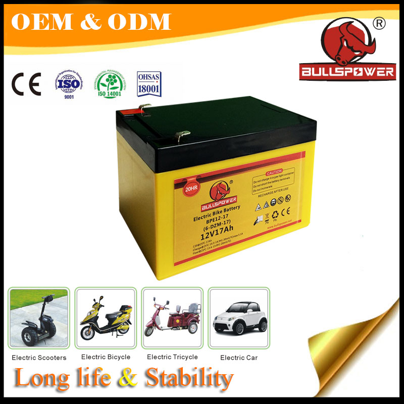 Stable 12v 17ah power safe agm sla battery for electric scooter and bike