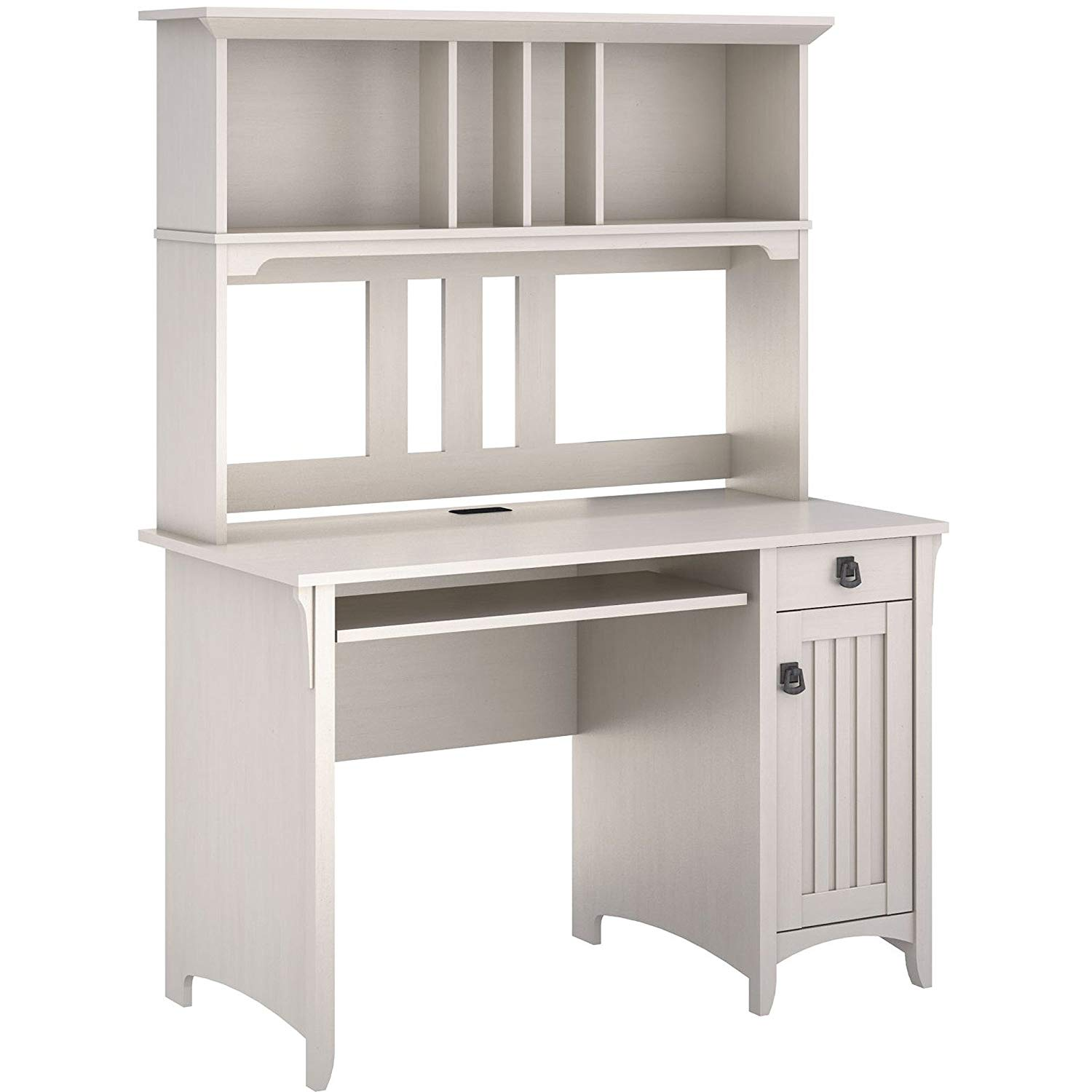Excellent Delux Desk & Hutch, Combines Modern Looks that Never Get Old, Features the Clean Lines with an Attractive Creamy Antique White Finish, Along with Technology-Ready Touches + Expert Guide