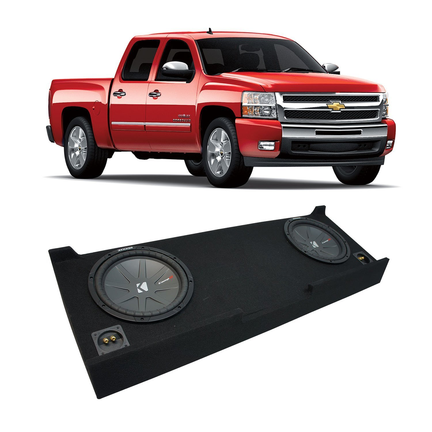 "2007-2013 Chevy Silverado Crew Cab Truck Kicker CompR CWR10 Dual 10"" Sub Box Enclosure - Final 2 Ohm"