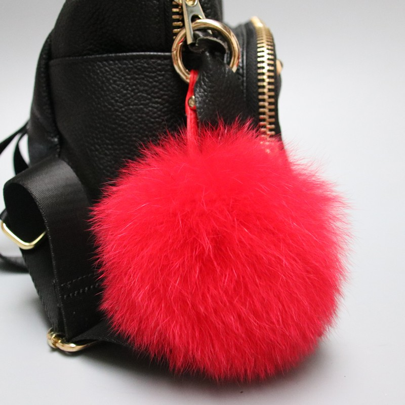 Newest fur poms bag keychain red fox fur accessory keyring factory price