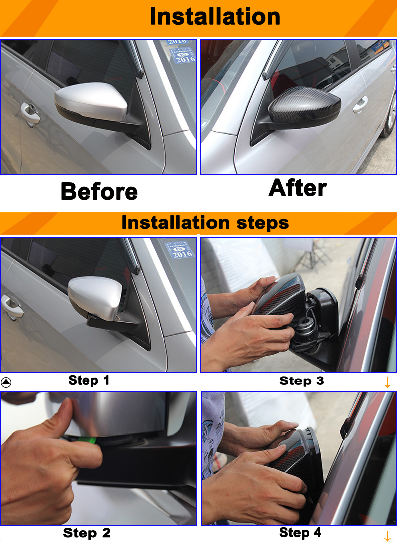 Custom high polish carbon fiber replacement mirror caps with clips side rearview mirror covers for audi A3 S3
