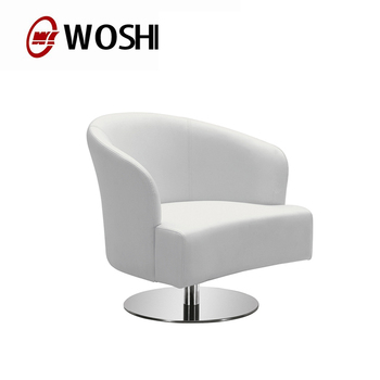 Attirant Modern Design White Genuine Leather Stainless Steel Base Swivel Bar Lounge  Chairs