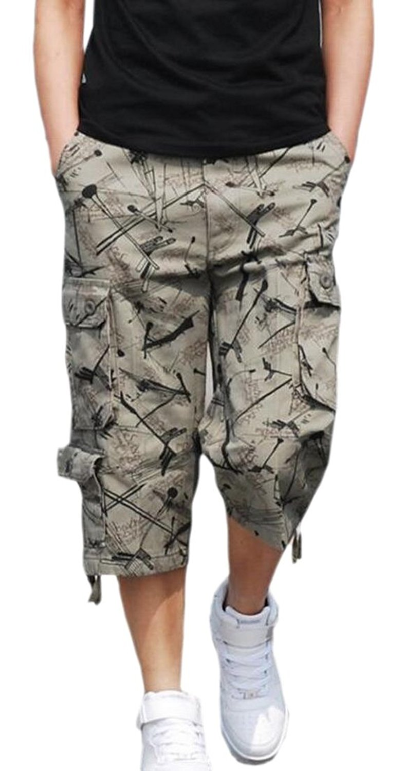 eeaf0187a9 Get Quotations · Generic Mens Washed Camo Long Capris Multi-Pockets Casual Cargo  Shorts