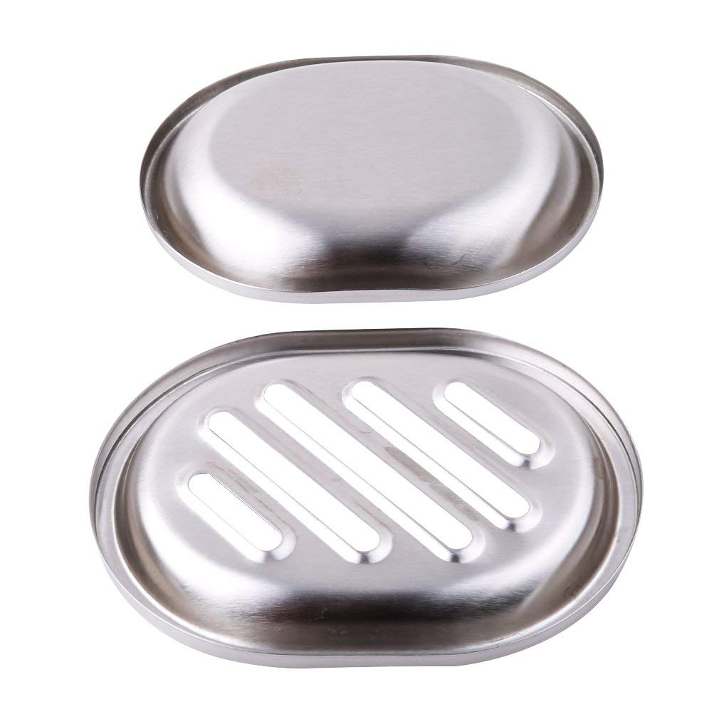 TraveT Double-deck Separable Stainless Steel Soap Dish, Soap Case Holder For Sponges, Scrubber, Soap For Bathroom Kitchen, 3#