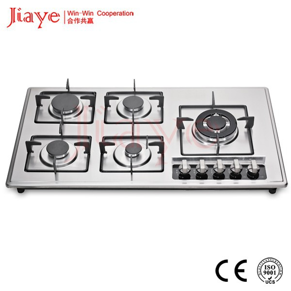 Noble type home appliance built in gas cooker, 5 burner SS gas cooktops JY-S5089