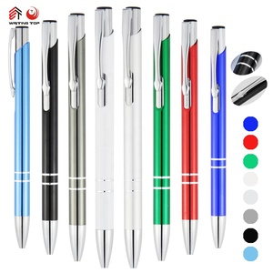 Hot aluminium promotional pens advertising ball point laser metal ball pen with logo