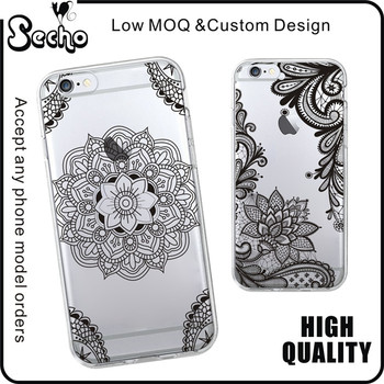 Retro Cord Lace Pattern Texture Plastic Clear Phone Case For Apple