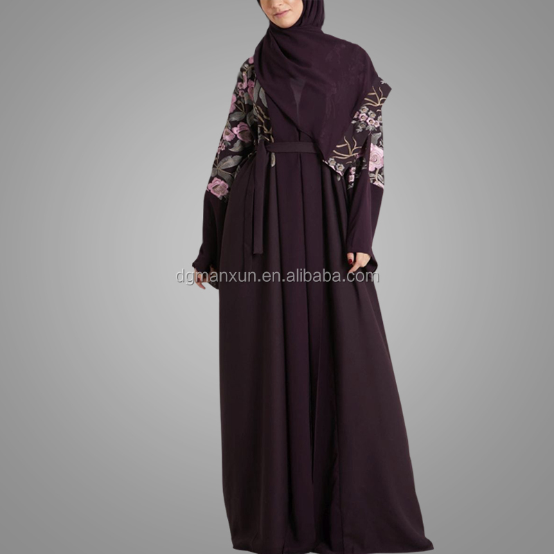 Islamic Apparel Ladies Muslim Dress Kimono Abaya New Models Beautiful Embroidery Open Abaya