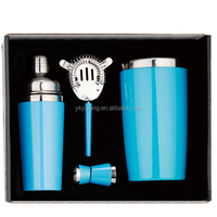 4pcs double wall stainless steel and plastic bar set with gift box