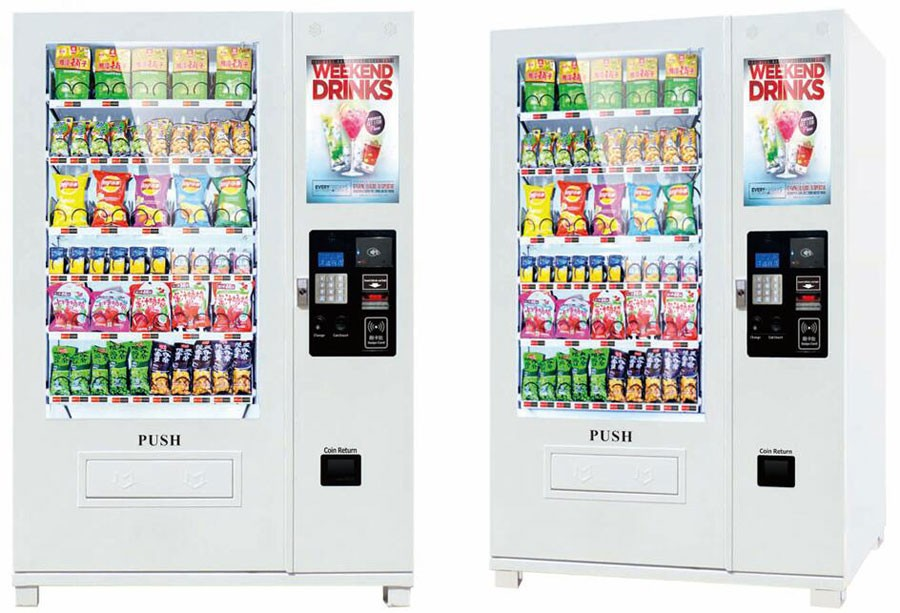 Combo vending machine with 22inch LCD monitor and printer
