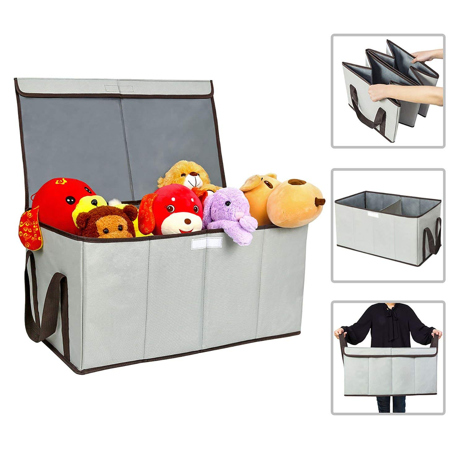Get Quotations · ZERO JET LAG Collapsible Toy Chest Box Large Storage  Basket With Flip Top Lid Double