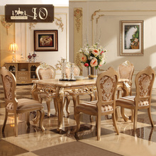 0119# European luxury classical design solid wood dining table and chairs