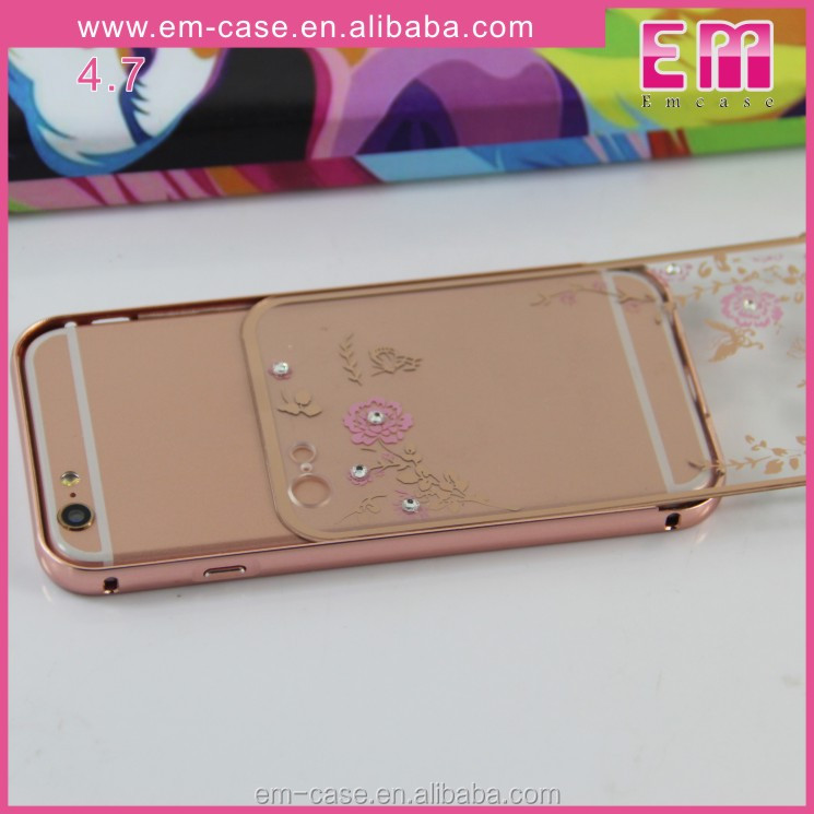 electroplate diamond secret garden pattern push back cover mobile phone case for iphone 6plus