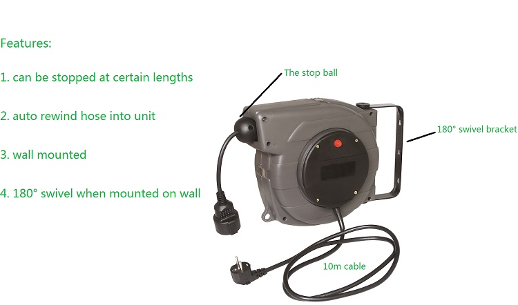 Auto/automatic cable reel with socket retractable/rewind electric hose reel