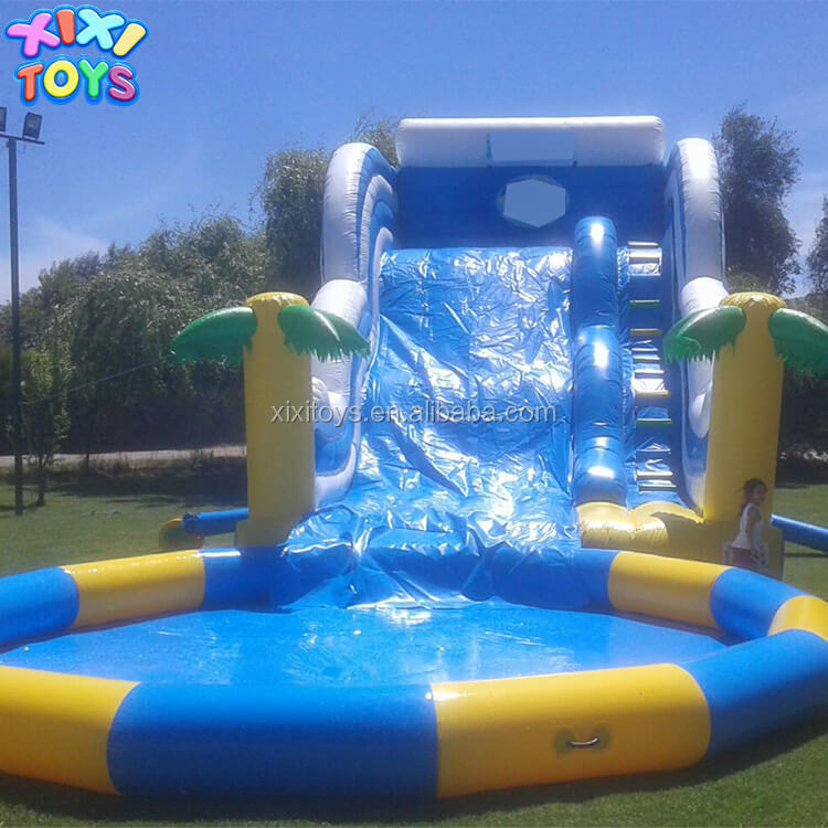 XIXI TOYS New Finished inflatable palm water slide with big pool