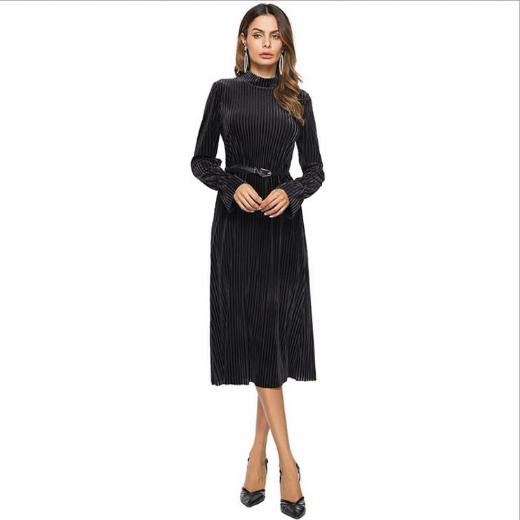 winter new design long sleeve striated party girl pleuche women bangkok dress