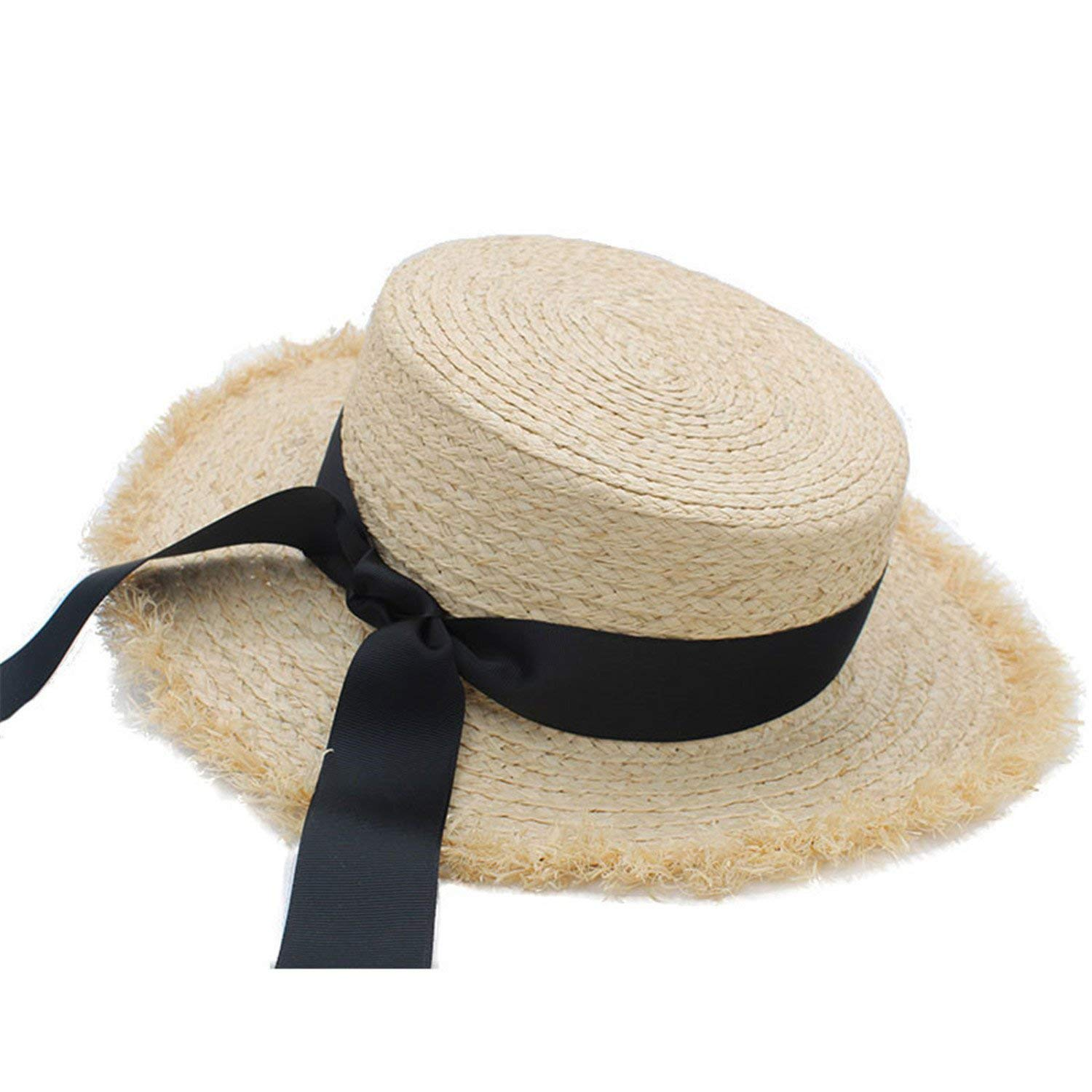 Gail Jonson Summer Adult Solid Casual Straw Sun Beach Hat Summer Hats for Women Boater Raffia Hat Bow