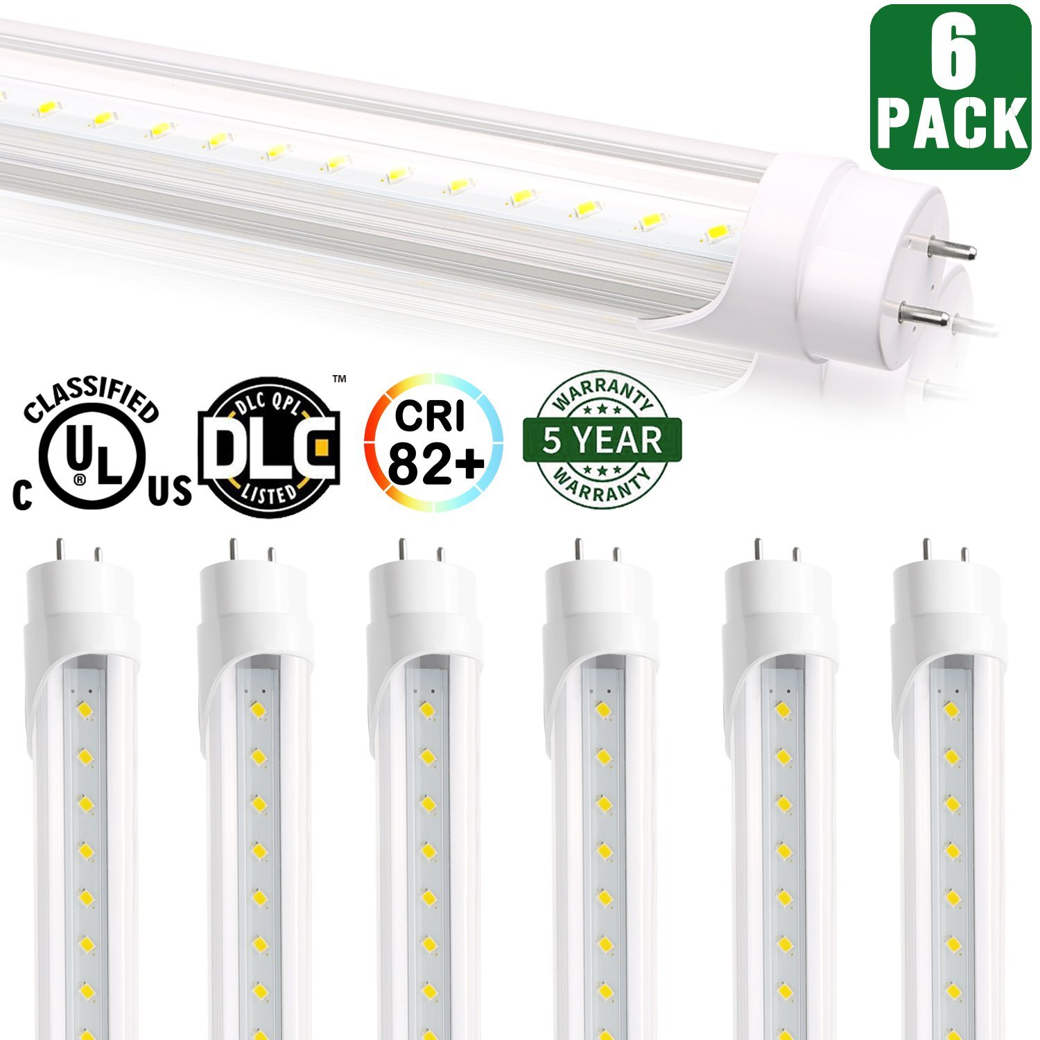 6 Pack - Hykolity T8 LED Tube Light 4FT 18W (40W Equivalent) Shop Lights, 2160LM, 5000K, Works WITH or without a Ballast, UL Listed and DLC Qualified, T10 T12 Fluorescent Tubes Replacement