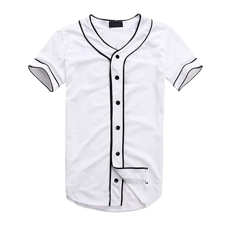 Botão-Down Do Moderno Mens Hip Hop Baseball Jersey Camisa de Manga Curta
