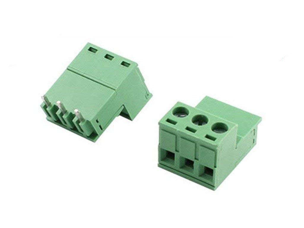 300V 10A 5.08mm Pitch 3 Poles PCB Mount Screw Terminal Block Connector 12-24AWG Green 20Pcs