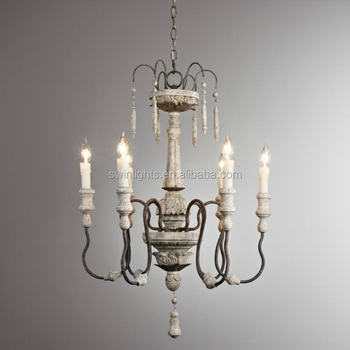 Made In China Old Style Lighting Vintage Wood Chandelier 6 Lights Iron Hanging Lamp Indoor Bedroom