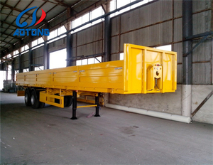 3 axle side drop flatbed semi trailer/ 50tons dry van trailer / bulk cargo trailer truck for sale